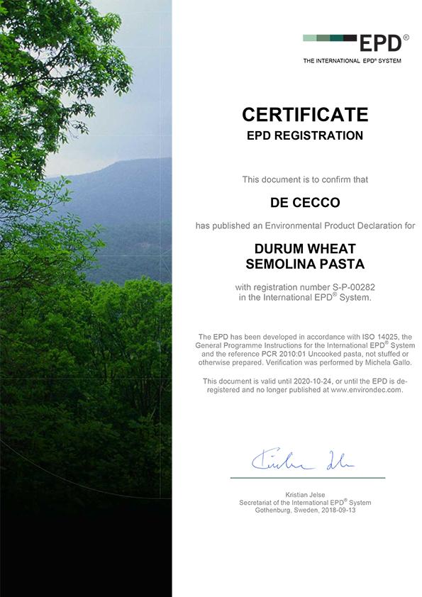 Certifications | De Cecco